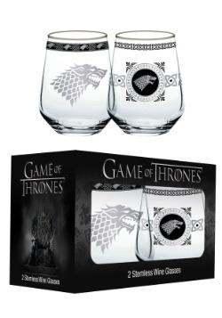 Game of Thrones House Stark 14 oz Stemless Wine Glass Set