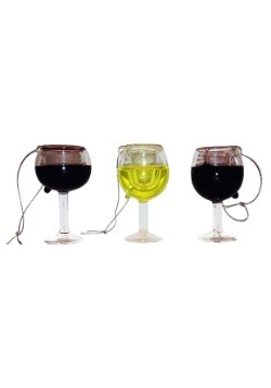 3 Pack Wine Glass Ornament Set