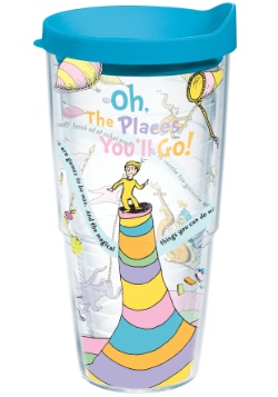 Dr. Seuss Oh the Places You'll Go 24 oz Tumbler w/ Blue Lid