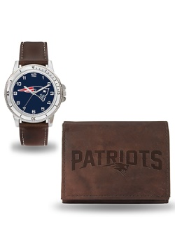 NFL Patriots Brown Watch and Wallet Set