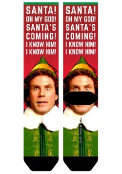 Elf Santa I Know Him Mens Sublimated Socks