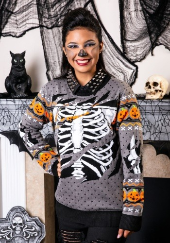 Adult Ripped Open Skeleton Ugly Halloween Sweater