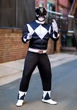 Adult Power Rangers Black Ranger Muscle Costume