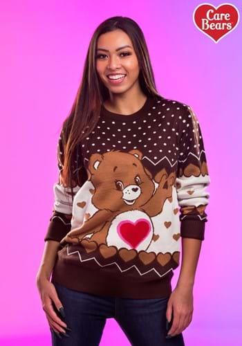 Adult Tenderheart Bear Care Bears Ugly Christmas Sweater