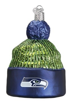 Seattle Seahawks Beanie Glass Ornament