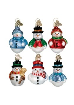6 Piece Miniature Snowman Glass Ornament Set