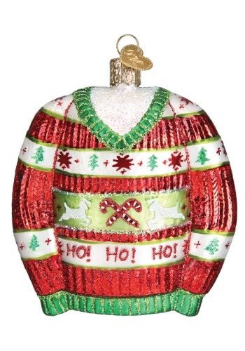 Ugly Christmas Sweater Glass Ornament