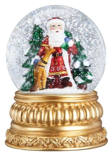 Nordic Santa Snow Globe with Antique Gold Finish Base