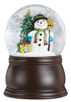 Gleeful Snowman Snow Globe with Blower Wood Finish