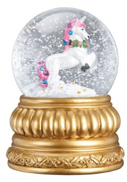 Prancing Unicorn Snow Globe with Blower Antique Gold Fish