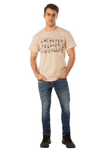 Tan Adult Stranger Things Alphabet Shirt