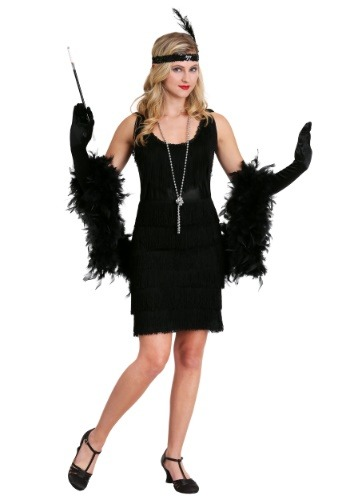 Womens Black Fringe 1920's Flapper Costume