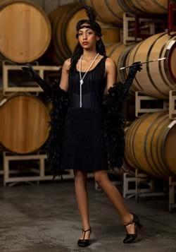 Womens Black Fringe 1920's Flapper Costume