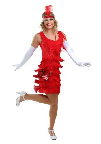 Red Flapper Fringe Dress