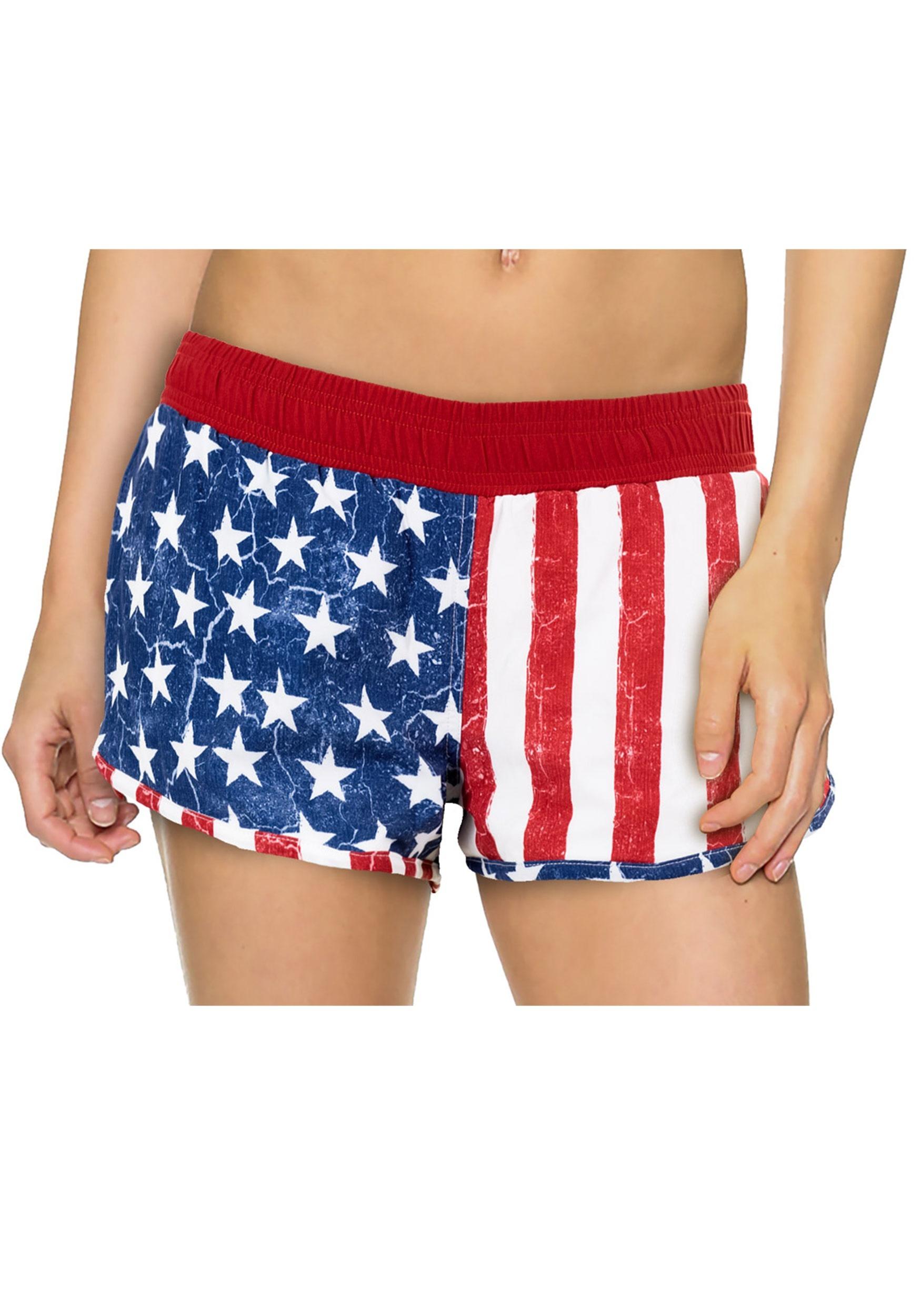 Womens USA Flag 4 Way Stretch Shorts 8293530af8