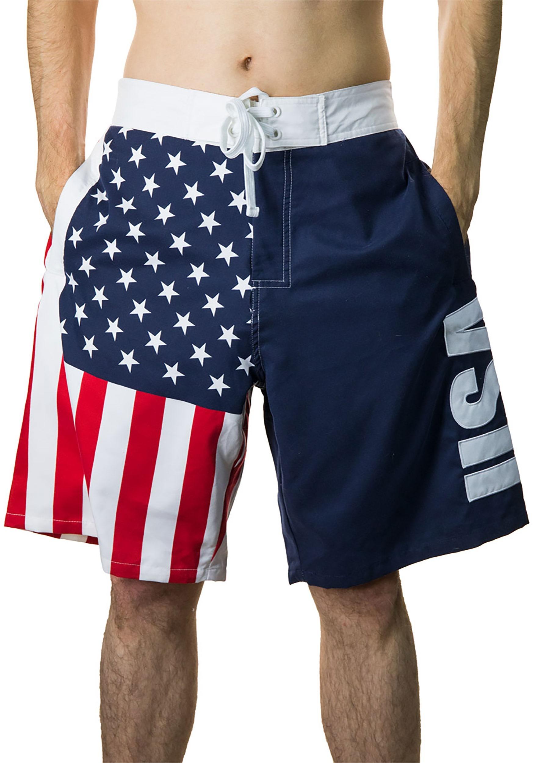 596b9f3901 Men's USA Flag Fourth of July Swim Board Shorts