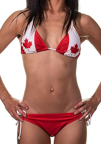 Womens Canadian Flag Tie Side Bikini