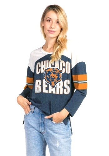 Women's Navy Chicago Bears Throwback Football Tee
