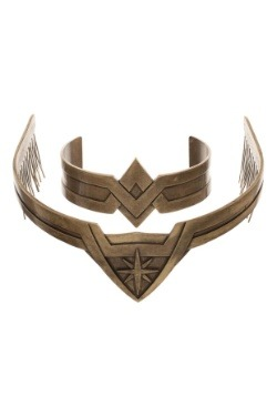 Wonder Woman Metal Tiara and Cuff Jewelry Cosplay Set