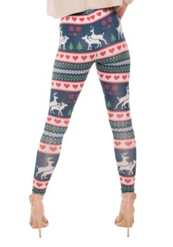 Humping Reindeer Ugly Christmas Sweater Leggings 2