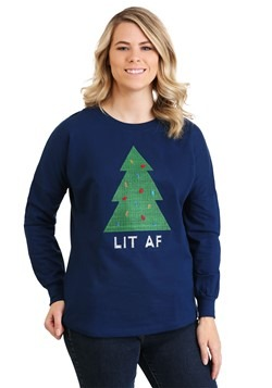 Threadpixel Lit AF Christmas Tree Women's Drop Shoulder
