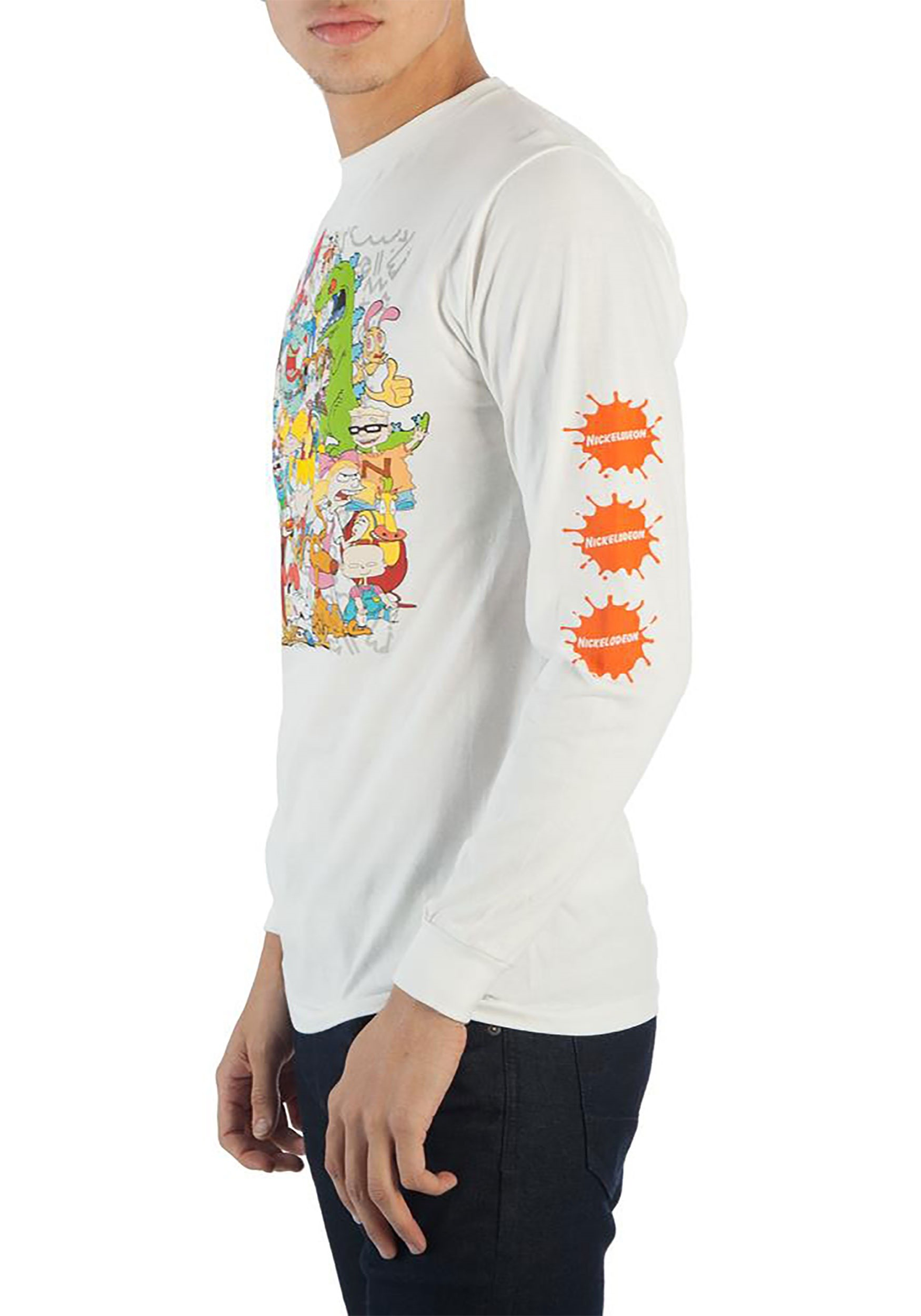 5c2b8cf68dc 90s Nickelodeon Characters Group Long Sleeve Tee
