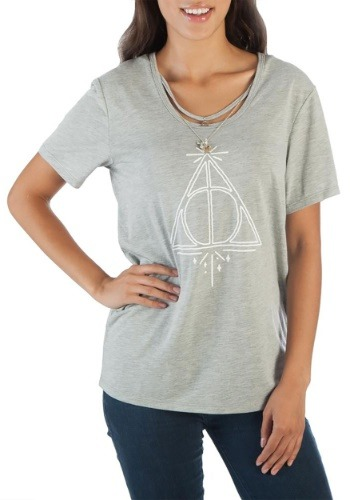 Harry Potter Deathly Hallows Women's Tee w/Charm Necklace