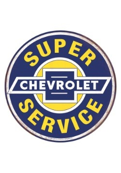 Super Chevy Service Tin Button Sign