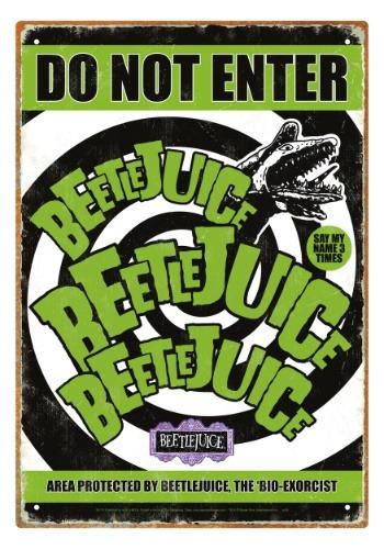 Beetlejuice - Do Not Enter Tin Sign