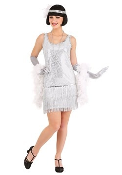 Women's Silver Sequin Flapper Dress Costume