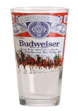 Budweiser Label Clydesdales 16 oz Pint Glass