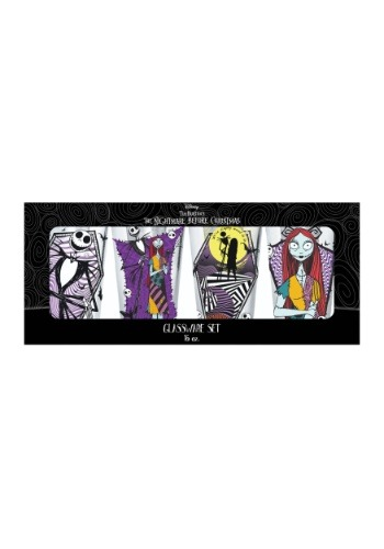 Nightmare Before Christmas Jack and Sally Glassware 4-Pack