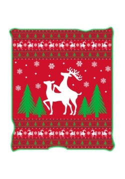 "Ugly Christmas Happy Reindeer 50"" x 60"" Throw Blanket"
