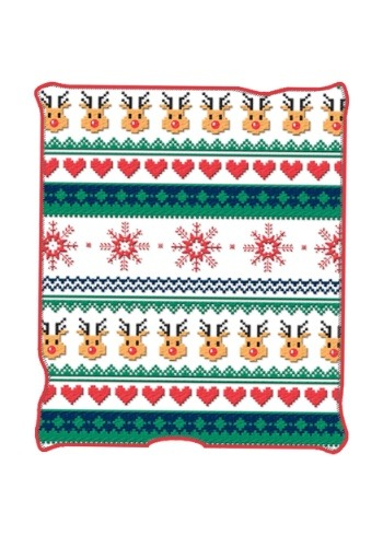"Ugly Christmas Deer & Hearts 50"" x 60"" Throw Blanket"