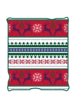 "Ugly Christmas Reindeer Print 50"" x 60"" Throw Blanket"