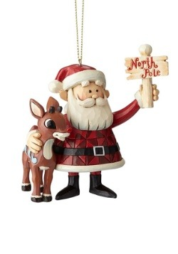 Rudolph & Santa North Pole Sign Ornament