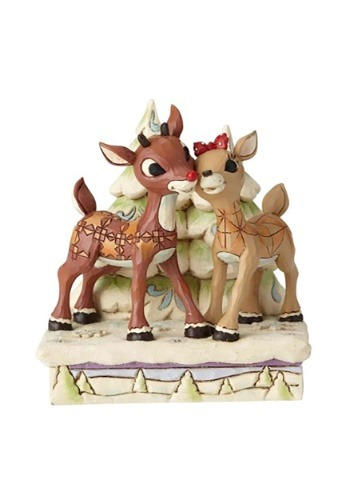 Rudolph and Clarice by Trees Figurine