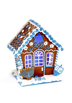 "7"" Claydough Hanukkah Gingerbread LED House Table-piece"