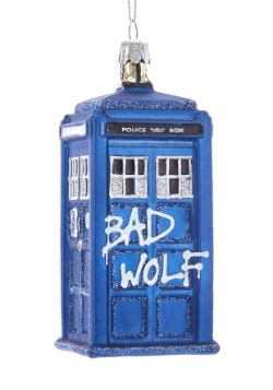 "4.25"" Doctor Who Bad Wolf Tardis Glass Ornament"