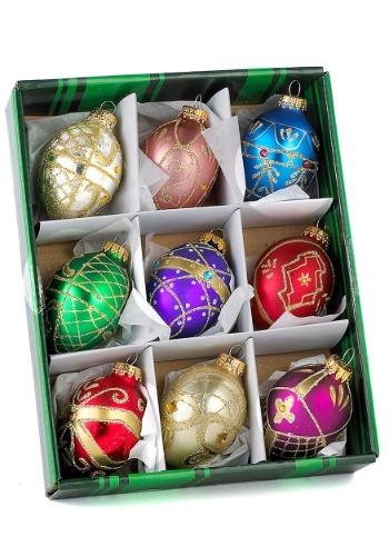 Decorative Egg Glass Ornament 9 Piece Set