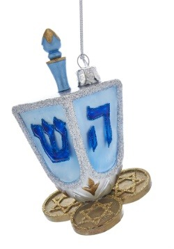 "4.5"" Noble Gems Hanukkah Dreidel Glass Ornament"