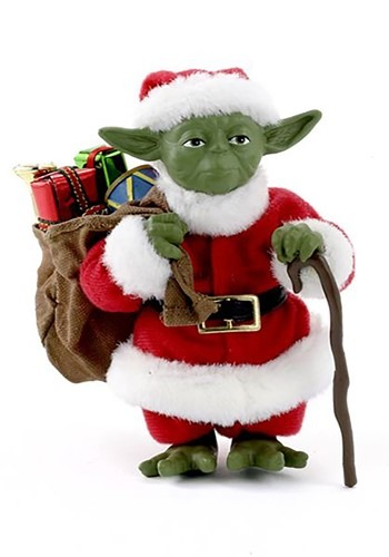"5"" Fabriche Santa Yoda Christmas Tablepiece Decor"