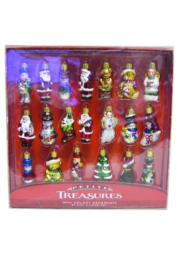 "2"" Petite Treasures 20pc Christmas Mini Glass Ornament Set"