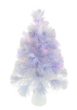 "18"" Fiberoptic LED Color Changing White Tree"
