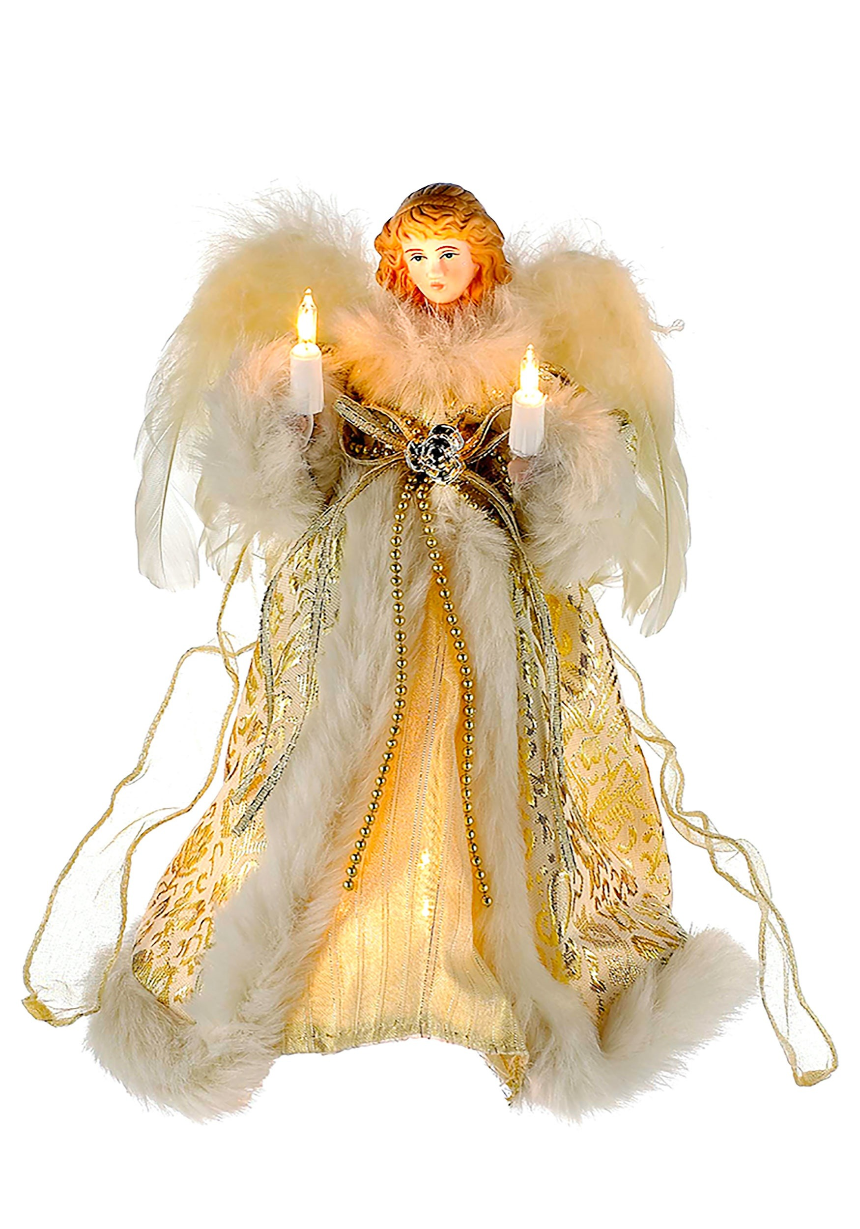 Ivory Gold Christmas Angel Tree Topper