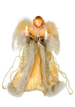 """10"""" Ivory Gold Angel Tree Topper"""