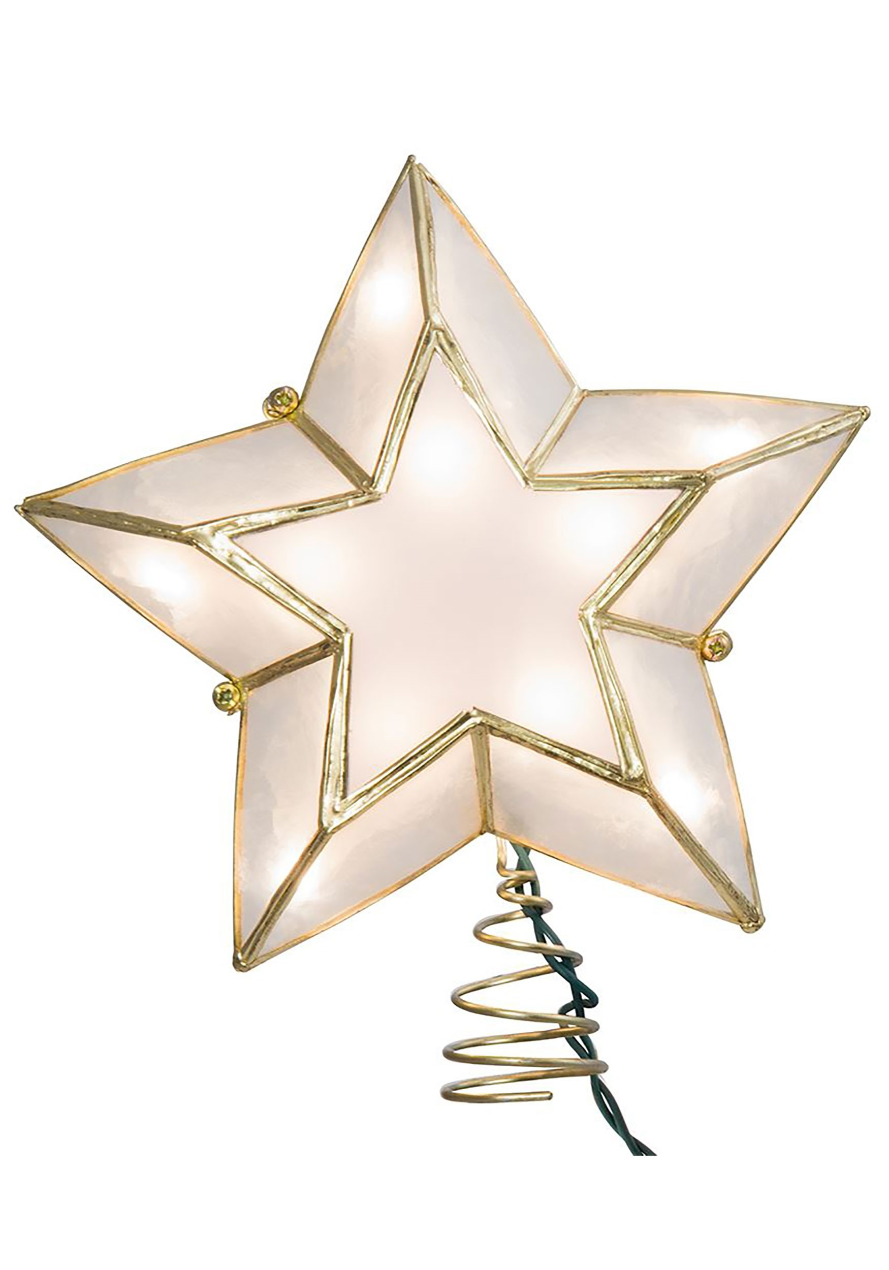 Ivory And Gold Capiz Star Lighted Treetopper
