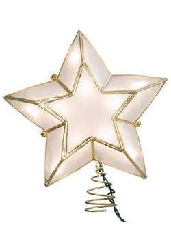 Ivory and Gold Capiz Star Lighted Treetopper-update