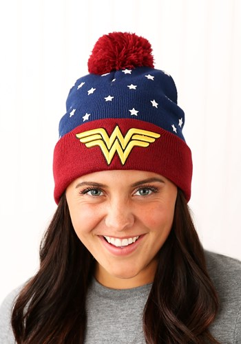 DC Wonder Woman Navy Red Gold JRs Cuff Pom Beanie