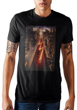 DC Comics Flash Running Through The City Black Men's Shirt
